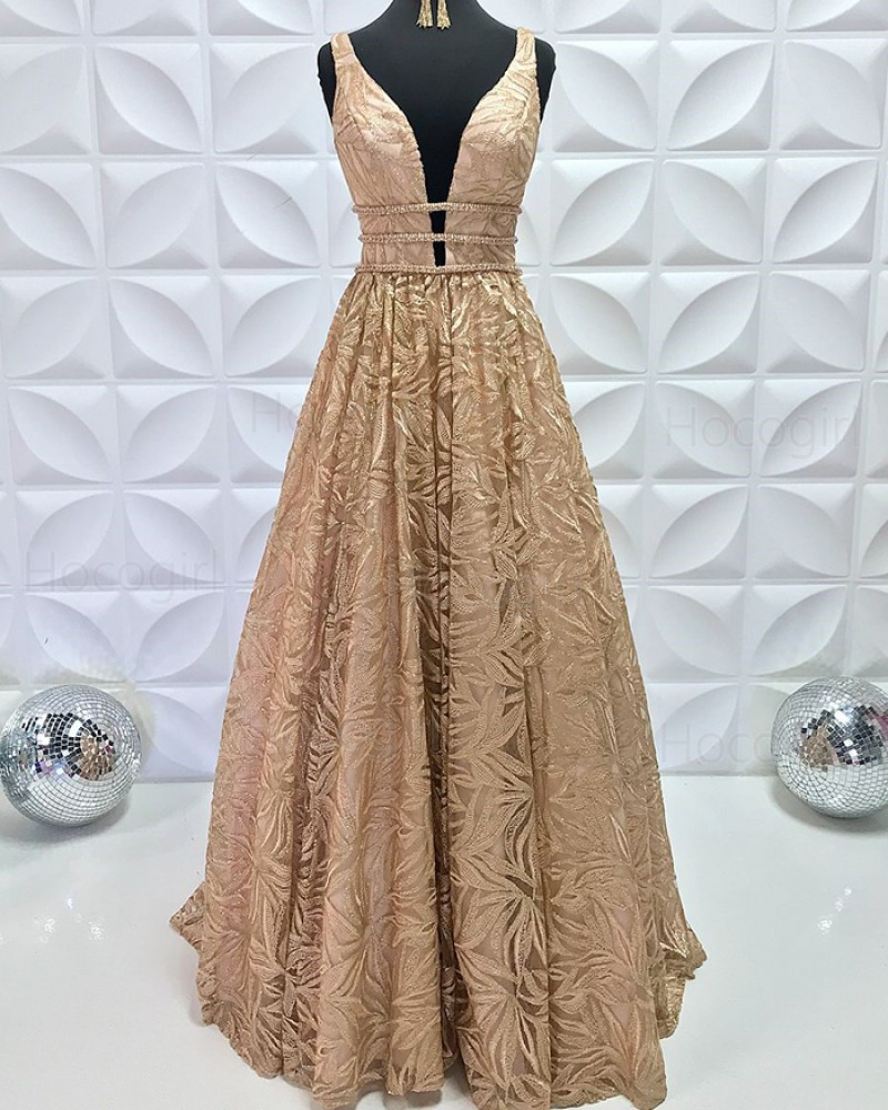 Gold Beading Lace V-neck A-line Pleated Formal Dress PD2195