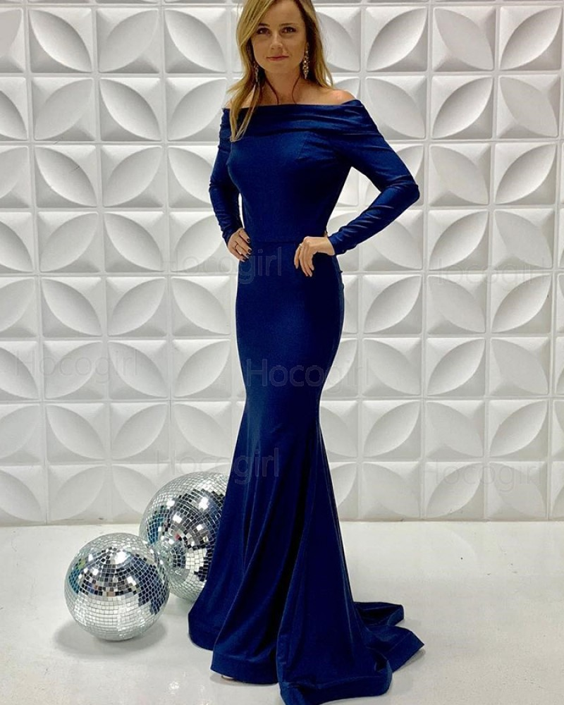 Simple Off the Shoulder Blue Mermaid Formal Dress with Long Sleeves PD2207