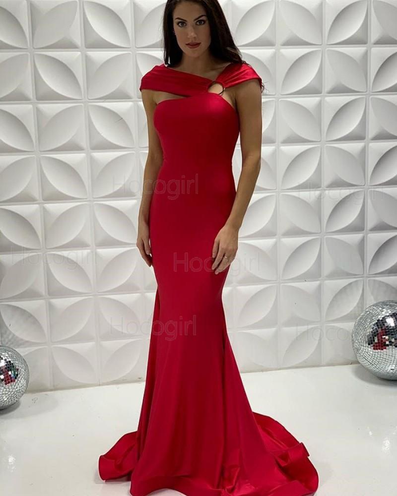 V-neck Satin Red Mermaid Long Formal Dress PD2208