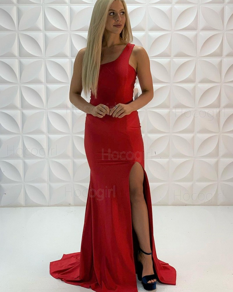 One Shoulder Red Satin Mermaid Prom Dress with Side Slit PD2216