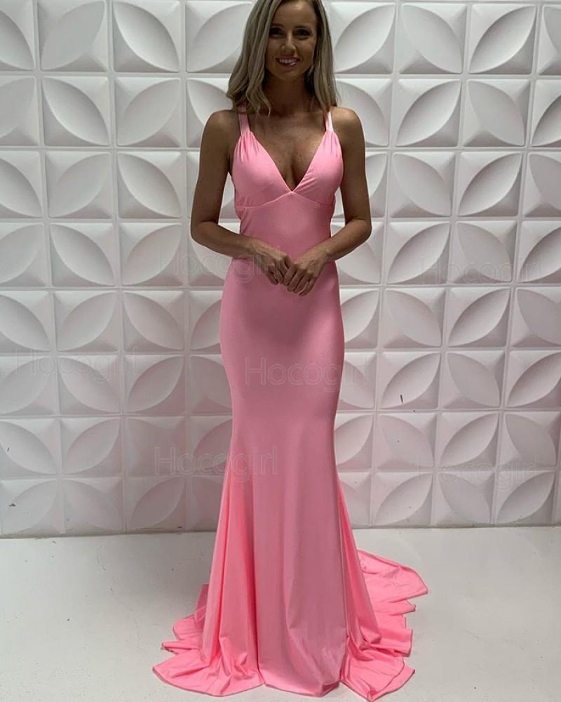 Simple V-neck Pink Satin Mermaid Ruched Formal Dress PD2217