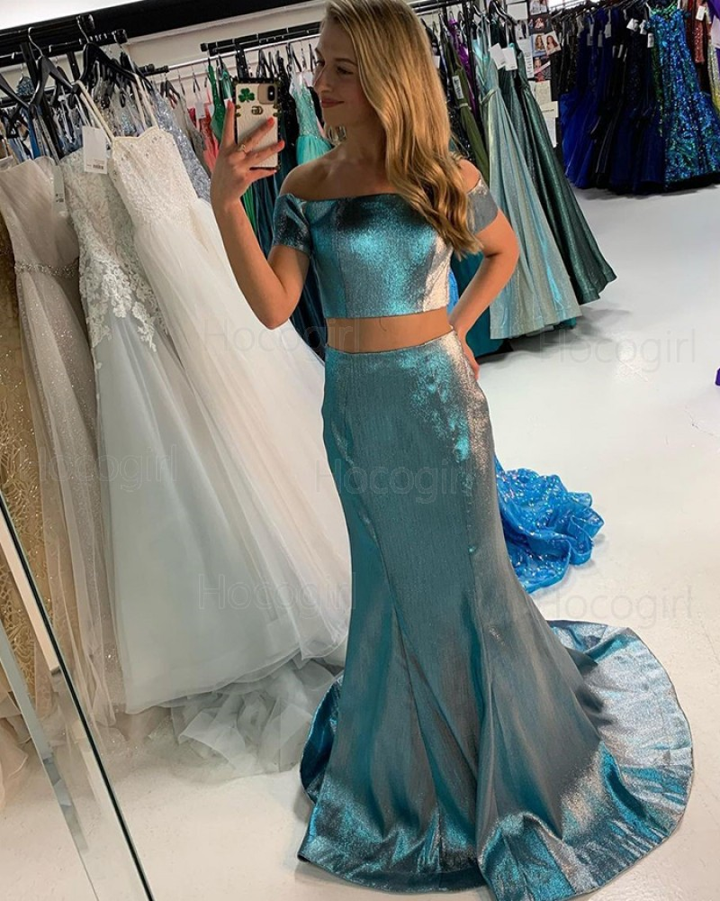 Two Piece Metallic Green Off the Shoulder Prom Dress with Short Sleeves PD2219