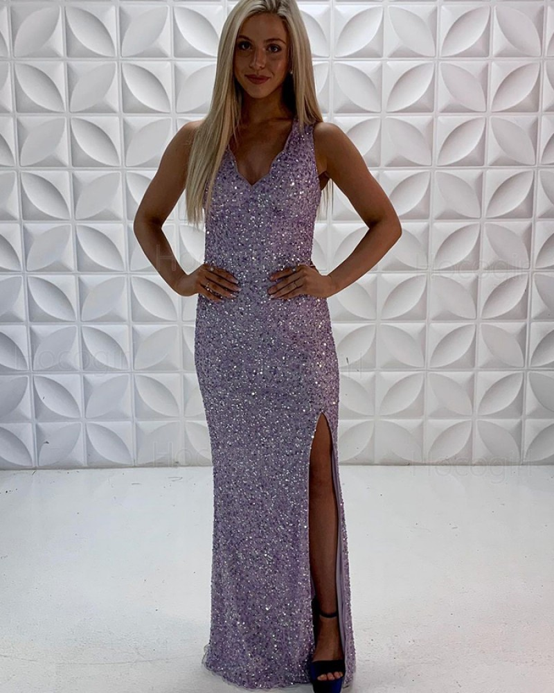 V-neck Lavender Sequin Mermaid Prom Dress with Side Slit PD2220