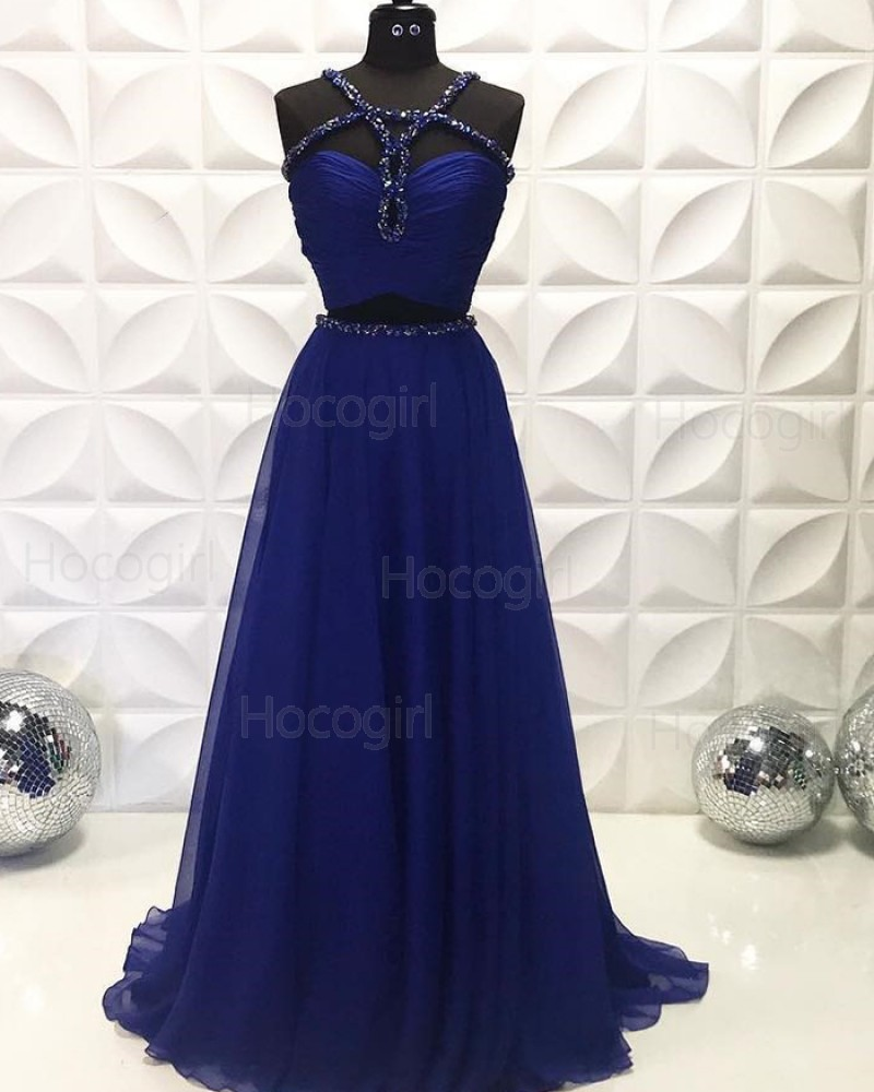Two Piece Navy Blue Beading Ruched Chiffon Prom Dress PD2228