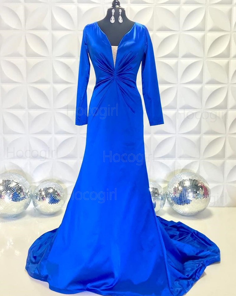 Simple V-neck Ruched Blue Mermaid Prom Dress with Long Sleeves PD2232