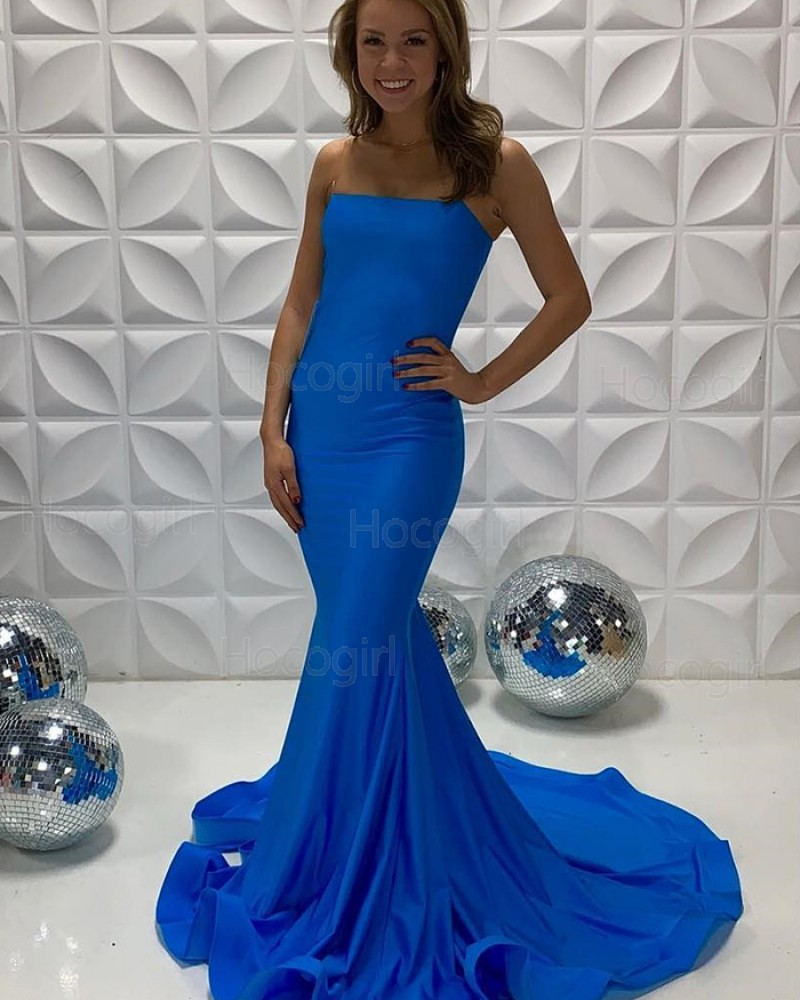 Strapless Blue Simple Satin Mermaid Prom Dress PD2236