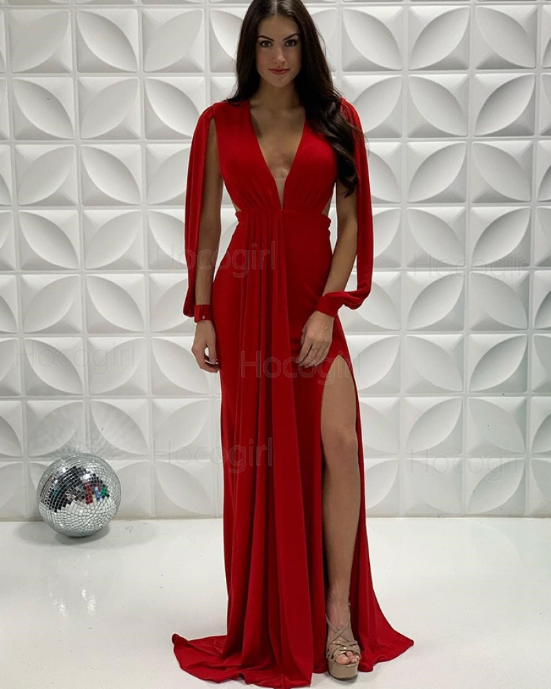 Deep V-neck Red Pleated Mermaid Side Slit Prom Dress with Hanging Sleeves PD2241