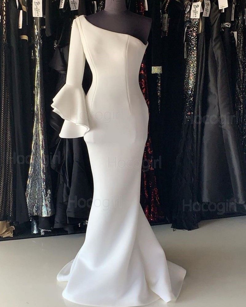 One Shoulder White Satin Mermaid Prom Dress with 3/4 Length Sleeves PD2244