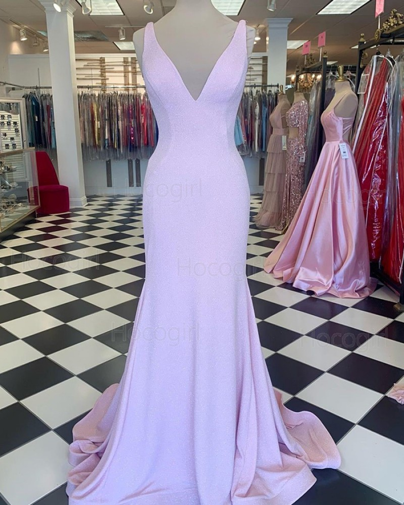 V-neck Pearl Pink A-line Mermaid Prom Dress PD2264