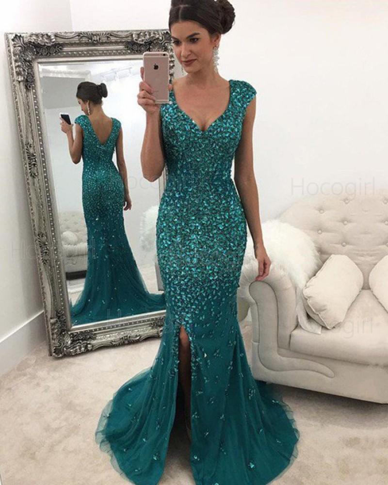 Elegant Scoop Green Beading Side Slit Mermaid Long Formal Dress PM1115