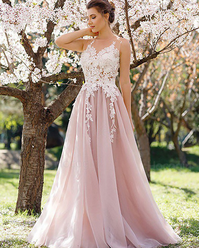 Sheer Lace Appliqued Bodice Blush Pink Long Prom Dress PM1116