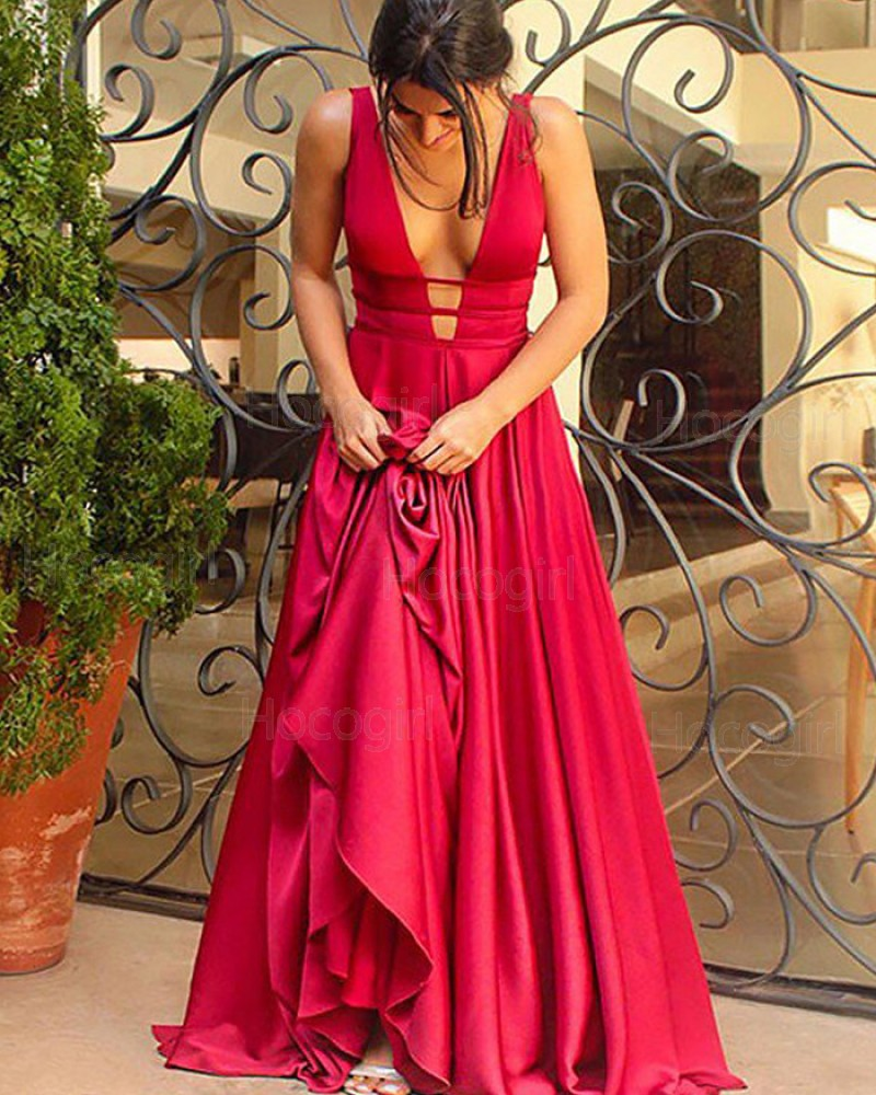 Simple Deep V-neck Cutout Satin A-line Long Prom Dress PM1117