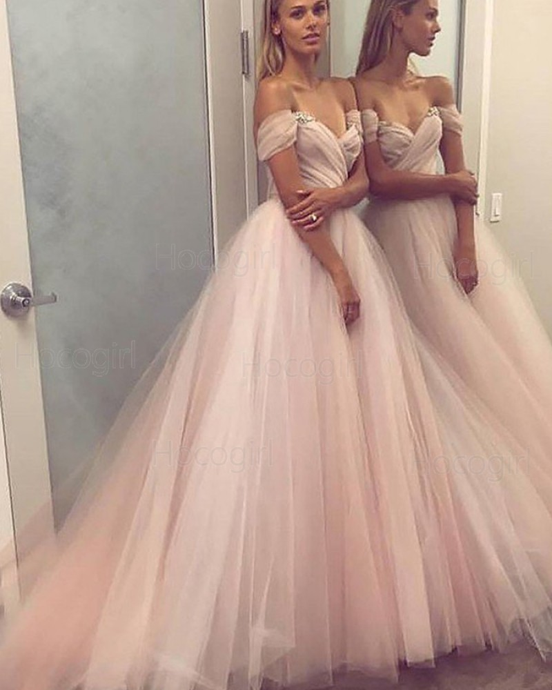 Off the Shoulder Ruched Tulle Pink Ball Gown Prom Dress PM1121