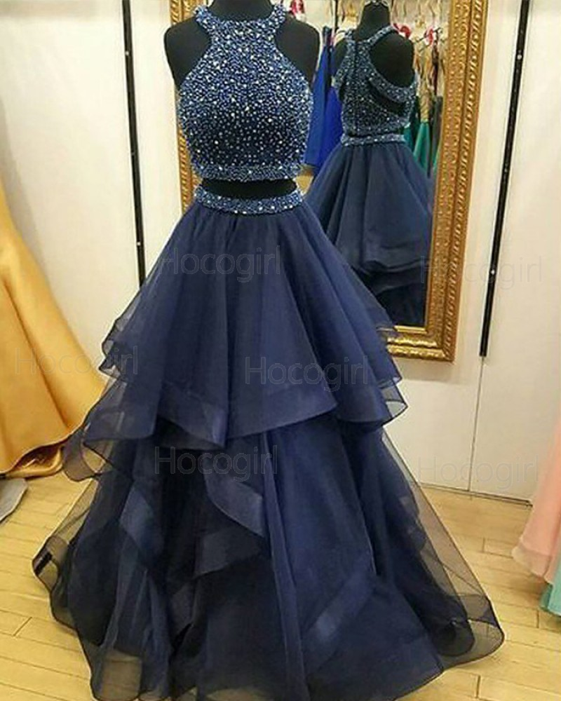 High Neck Two Piece Beading Bodice Tulle Navy Blue Prom Dress PM1122