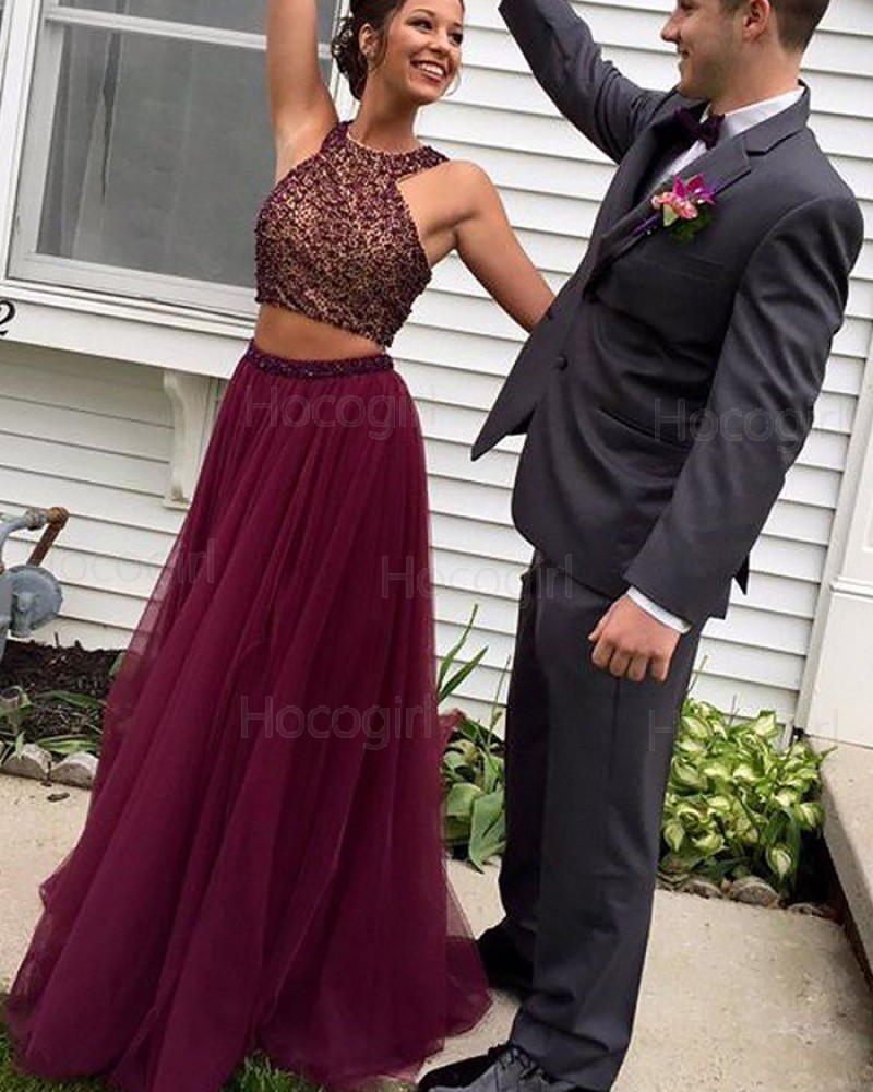 Two Piece High Neck Burgundy Beading Long Prom Dress PM1125