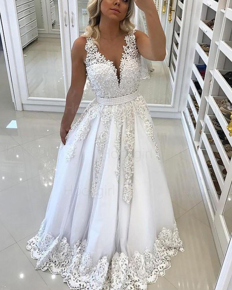 Elegant White V-neck Lace Appliqued Princess Long Prom Dress PM1131
