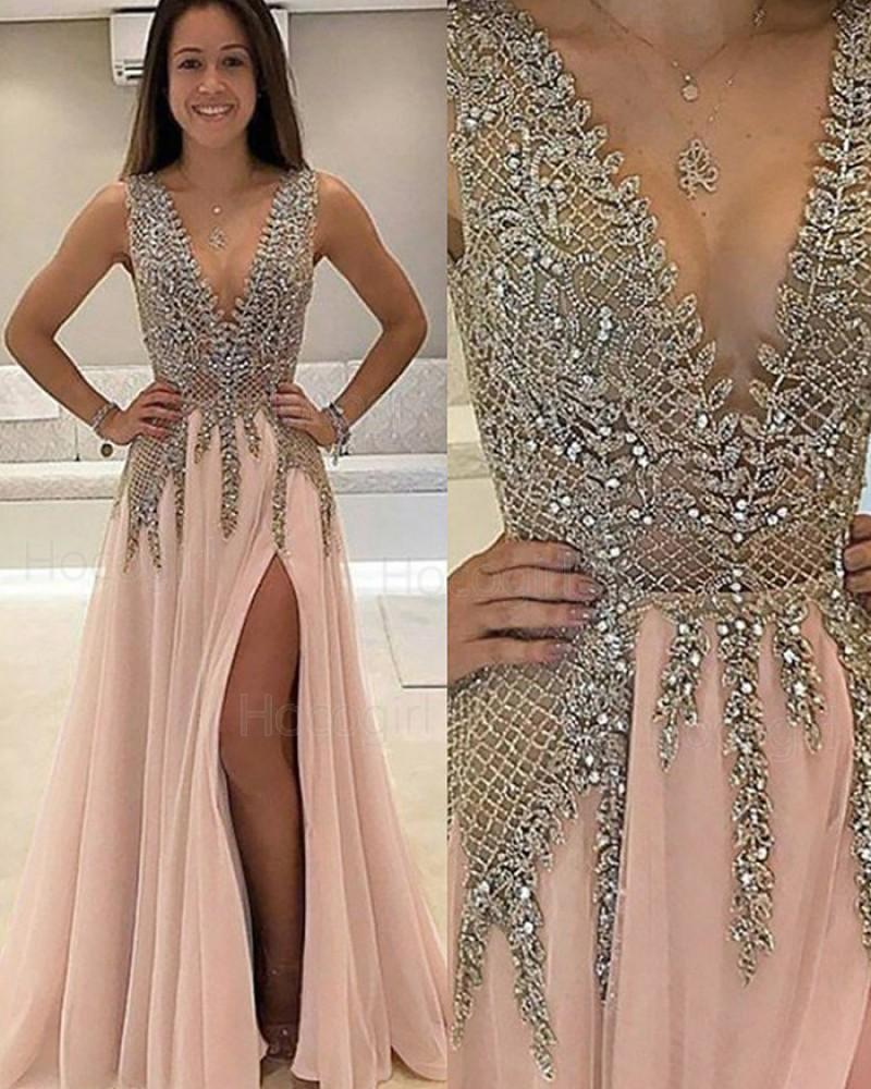V-neck Lace Beading Bodice Pink Long Prom Dress with Side Slit PM1132
