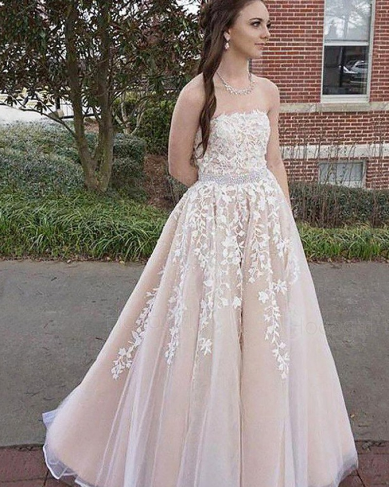 Strapless Appliqued Pink Tulle Long Prom Dress with Beading Belt PM1144