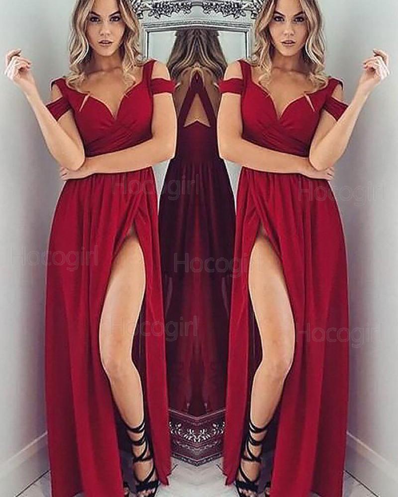 Cold Shoulder Satin Red Ruched Long Prom Dress with Side Slit PM1145