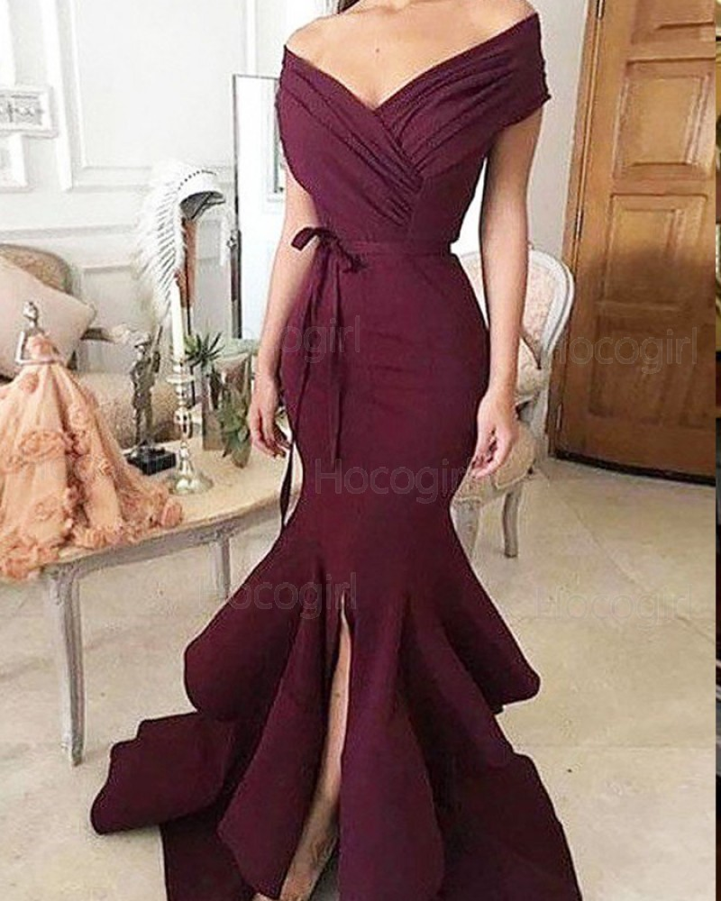 Off the Shoulder Ruched Burgundy Mermaid Prom Dress with Front Slit PM1148