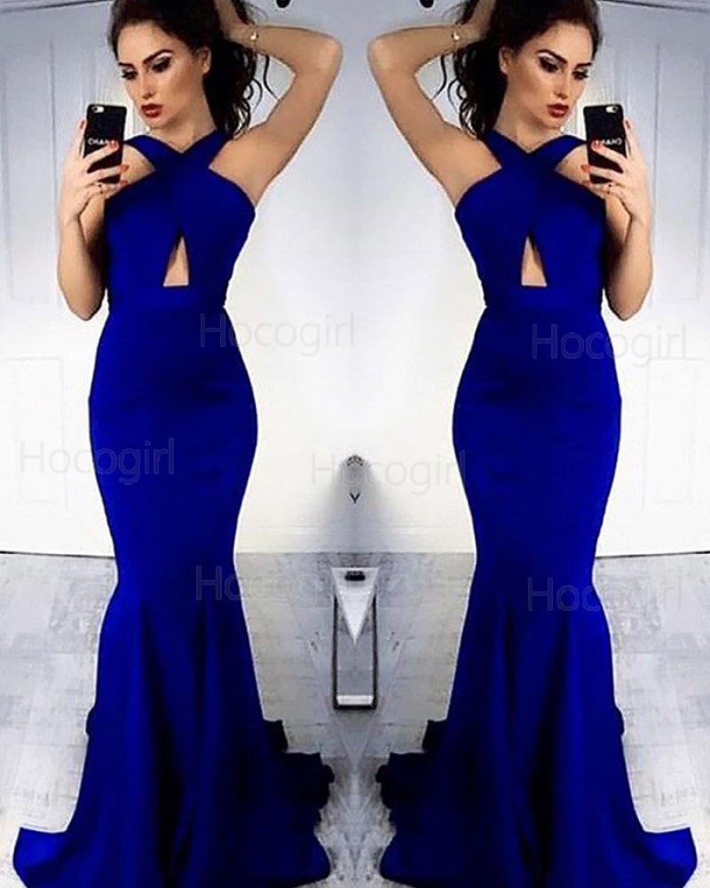 Crisscross Blue Cutout Mermaid Long Prom Dress PM1163