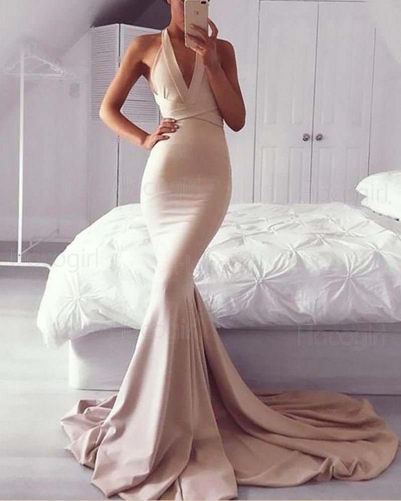 Convertible Blush Pink Mermaid Satin Long Prom Dress PM1165