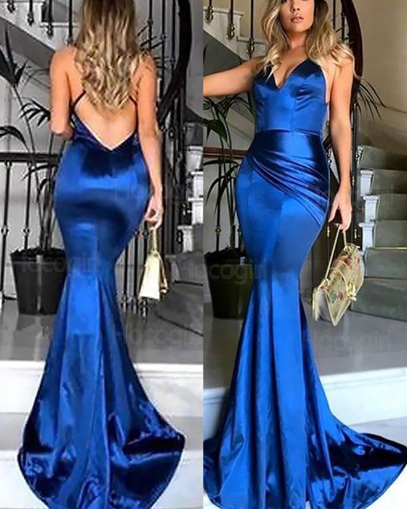 Spaghetti Straps Ruched Mermaid Royal Blue Prom Dress PM1177