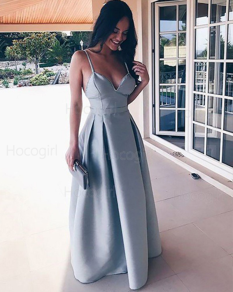 Simple Pleated Square Satin Dusty Blue Long Prom Dress PM1178
