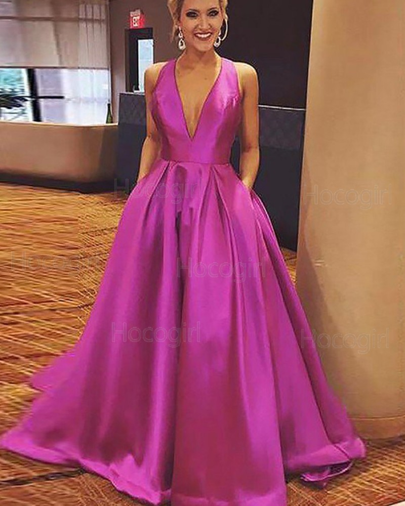 Halter Fuchsia Satin Long Ball Gown Prom Dress with Pockets PM1181