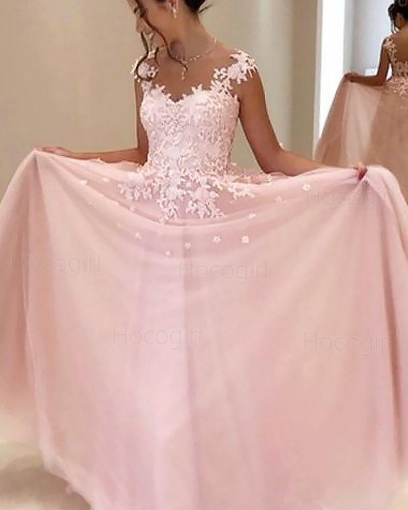 Sheer Neck Appliqued Pink Chiffon Long Prom Dress PM1187