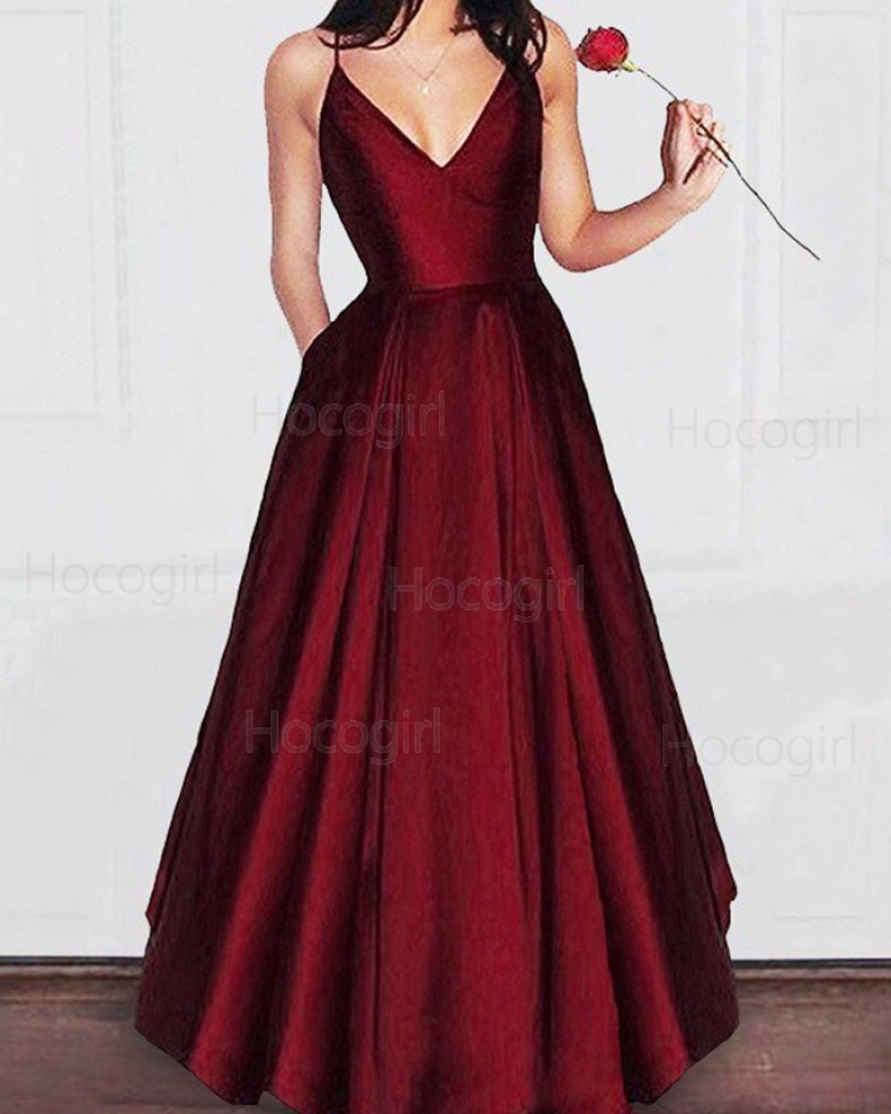 Simple Spaghetti Straps Burgundy Pleated Satin Long Prom Dress with Pockets PM1195