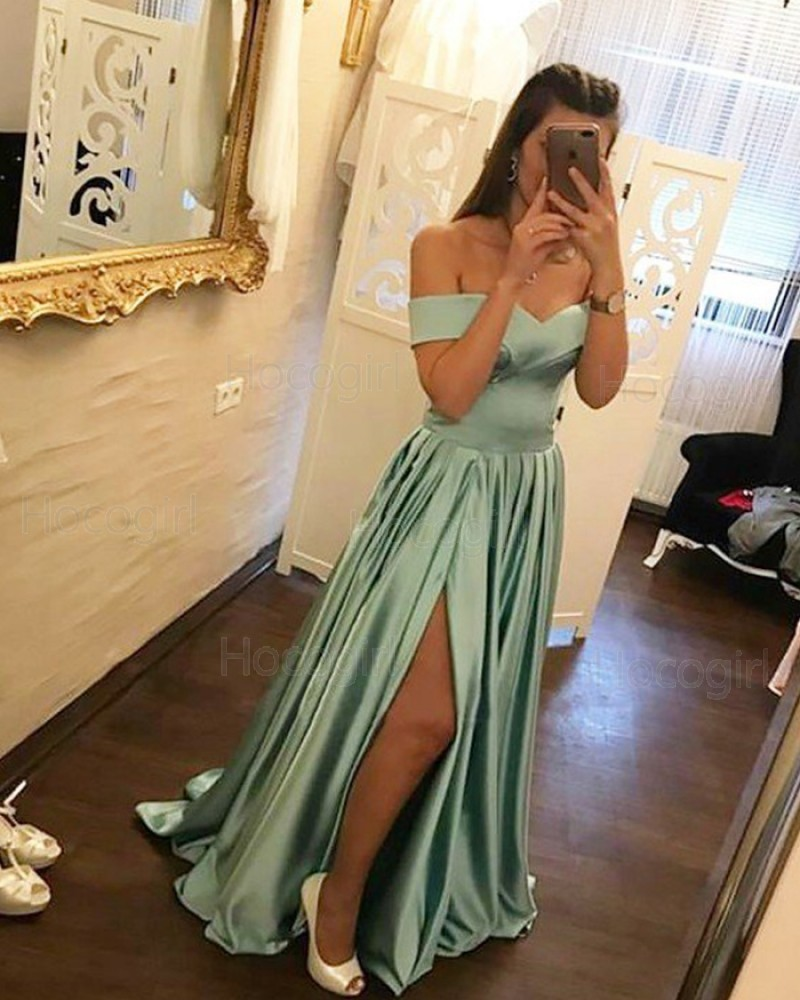 Off the Shoulder Simple Pleated Sage Long Prom Dress with Side Slit PM1196
