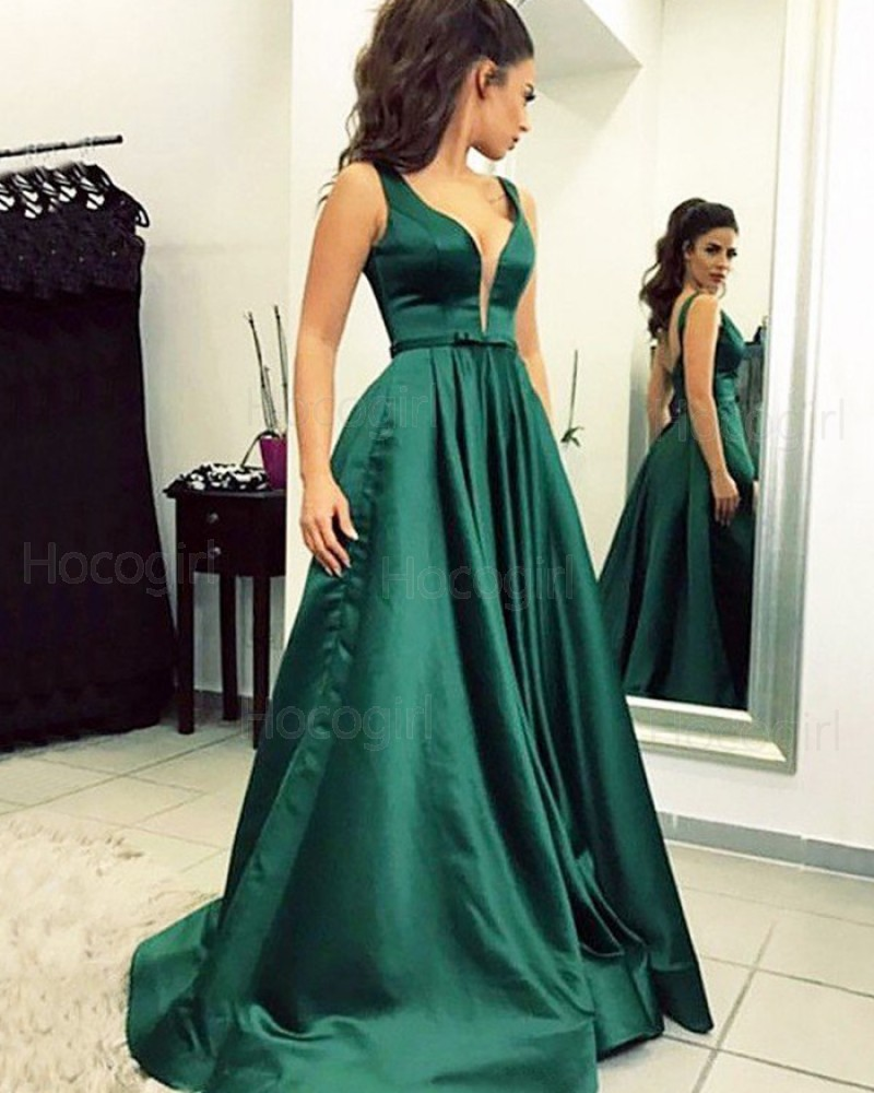 great prices unique style durable in use Simple Pleated V-neck Green Satin Ball Gown Prom Dress PM1199