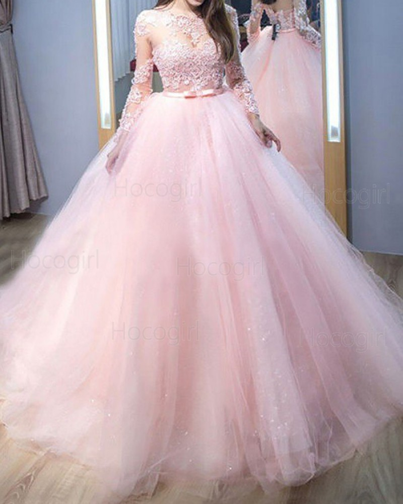 Jewel Neck Pink Lace Appliqued Tulle Ball Gown Prom Dress with Long Sleeves PM1206