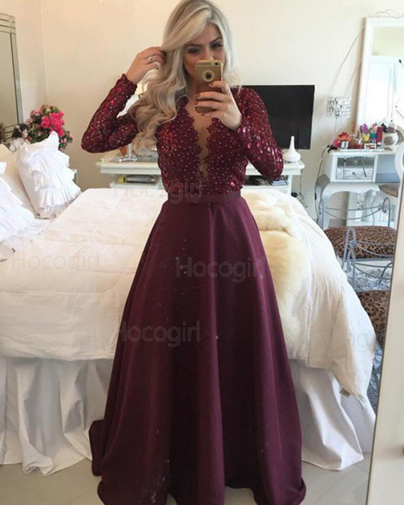 Round Neck Beading Bodice Burgundy Prom Dress with Long Sleeves PM1213