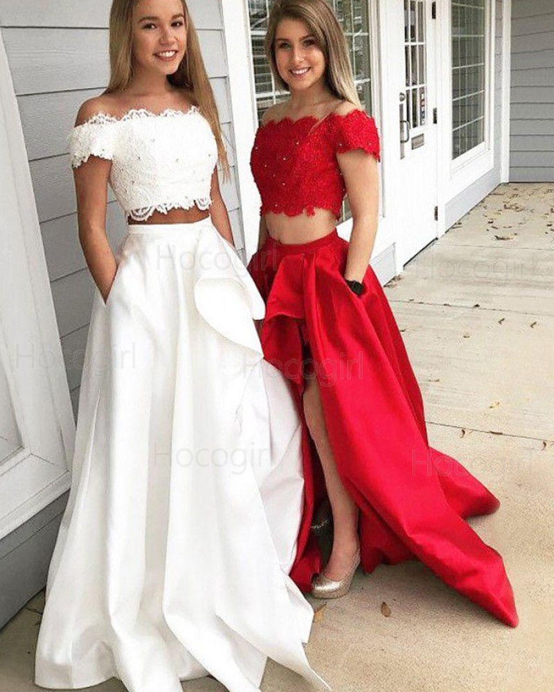 Two Piece White Off the Shoulder Slit Prom Dress with Pockets PM1214