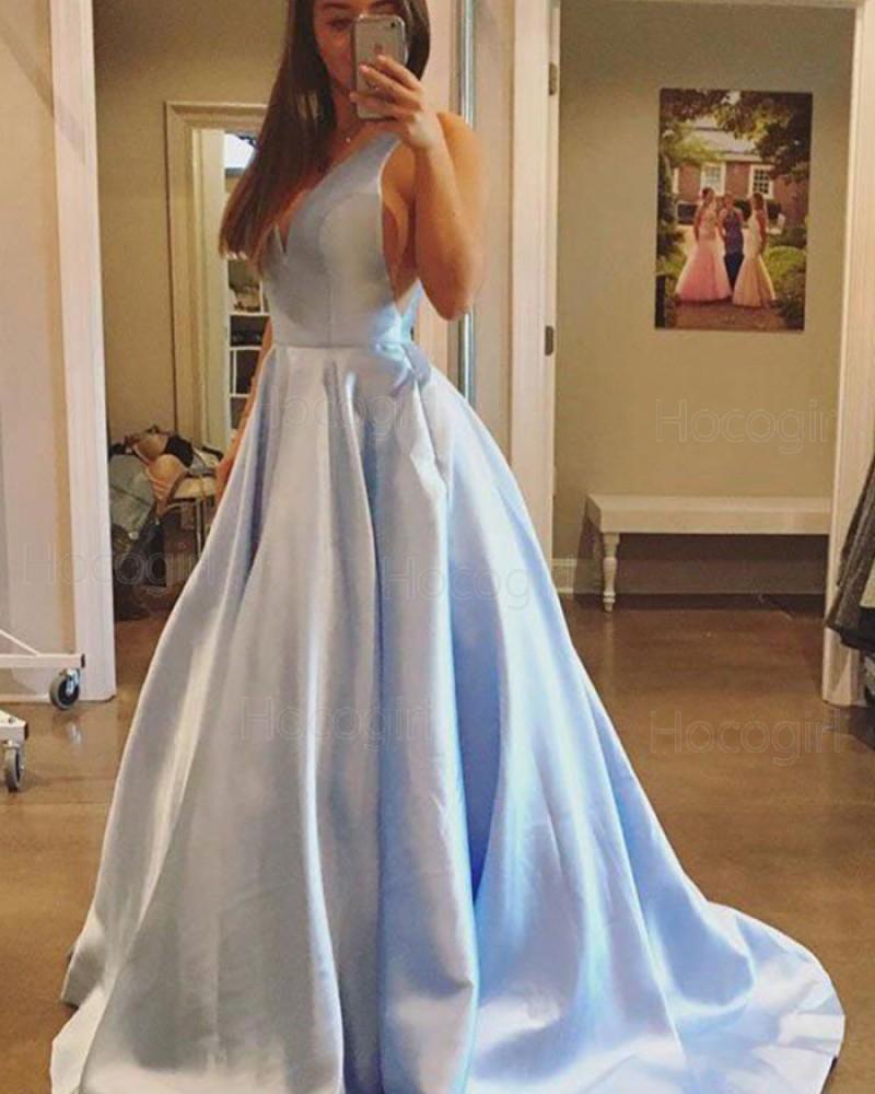 Simple V-neck Light Blue Satin Ball Gown Prom Dress PM1221