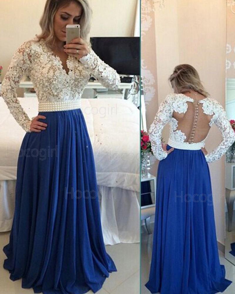 V-neck Ivory Lace Bodice Beading Long Prom Dress with Blue Pleated Skirt PM1228