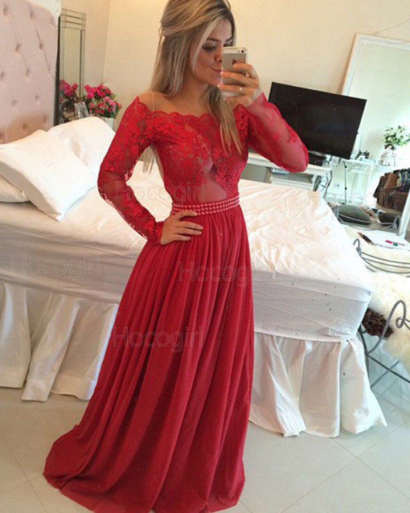 Off the Shoulder Lace Bodice Satin Red Prom Dress with Long Sleeves PM1229