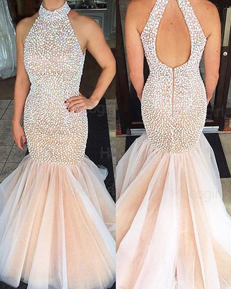 High Neck Elegant Beading Tulle Pink Long Mermaid Prom Dress PM1231