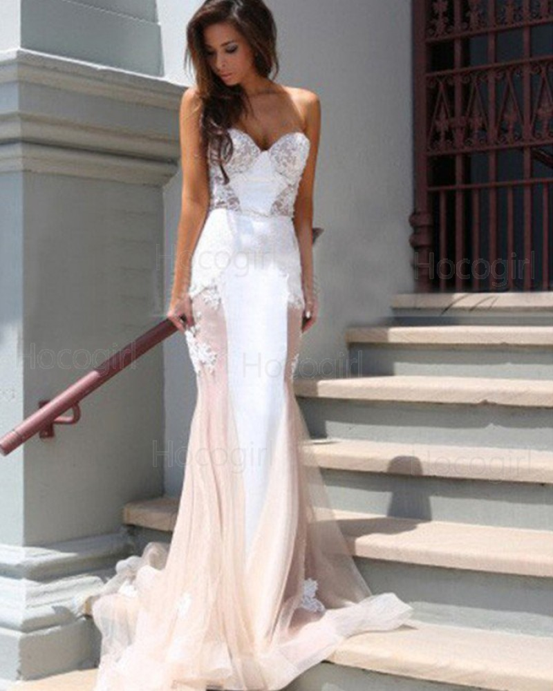 Sweetheart Appliqued White and Champagne Tulle Mermaid Prom Dress PM1235