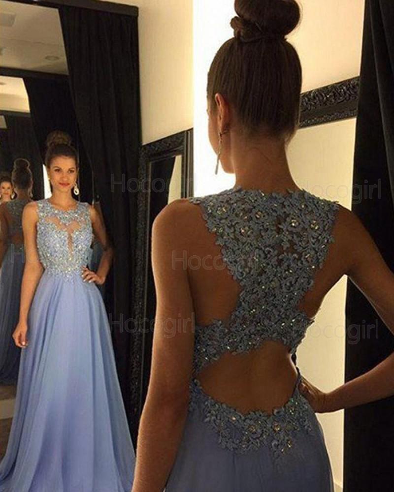 High Neck Light Blue Beading Lace Chiffon Prom Dress PM1238