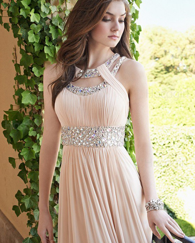 Elegant Chiffon Cutout Beading Pleated Pink Long Prom Dress PM1241