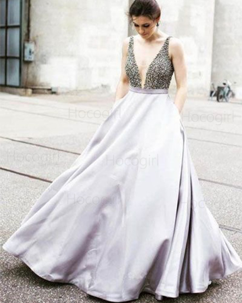 Deep Neck Satin Beading Bodice Light Purple Ball Gown Prom Dress PM1259