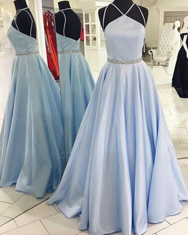 Double Spaghetti Straps Light Blue Satin Prom Dress with Beading Belt PM1264