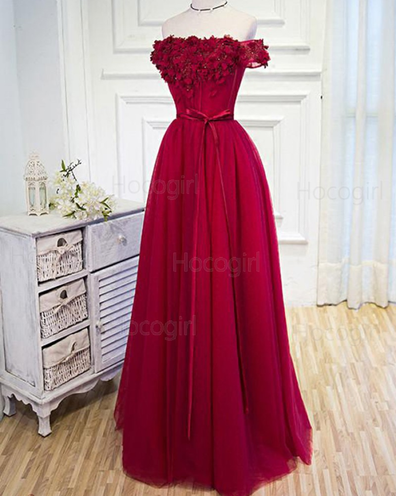 Off the Shoulder Red Tulle Long Prom Dress with Handmade Flowers PM1271
