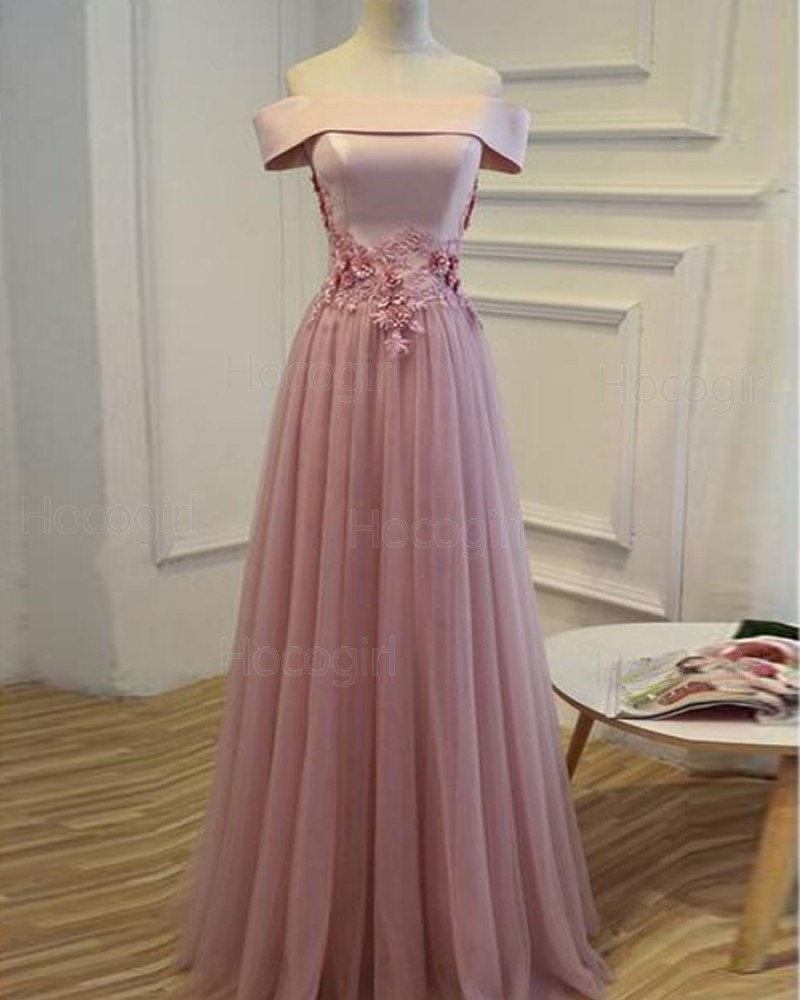 Off the Shoulder Lavender Long Tulle Prom Dress with Handmade Flowers PM1272