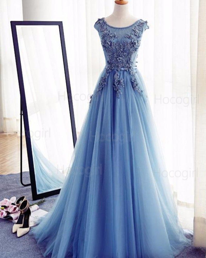 Jewel Blue Tulle Handmade Flowers Long Prom Dress PM1273