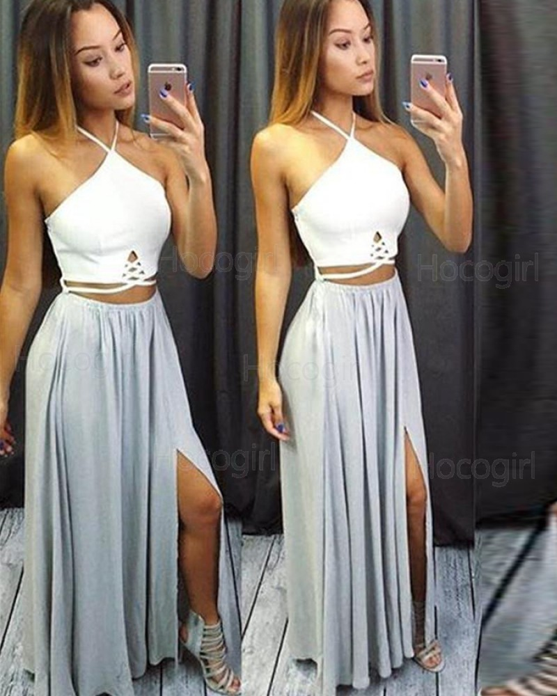 Halter White and Dusty Blue Cutout Chiffon Prom Dress with Side Slit PM1275