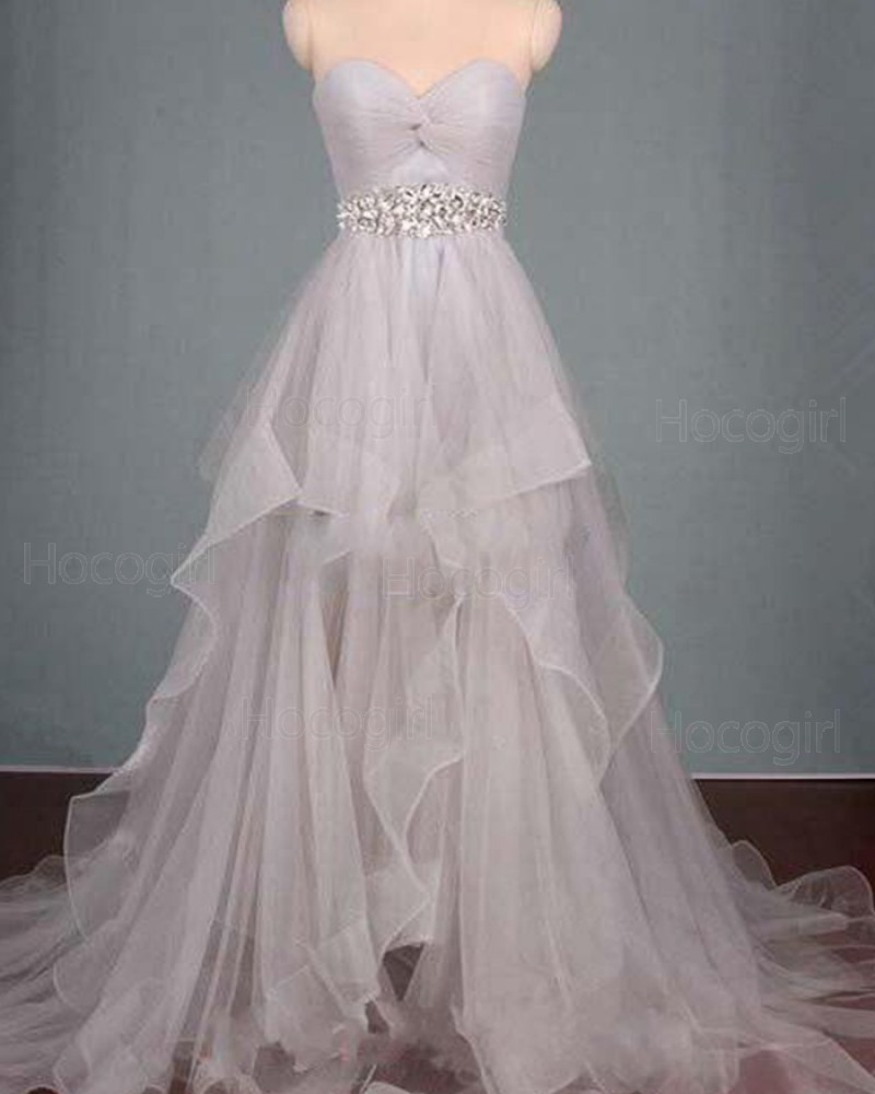 Sweetheart Ruched Beading High Low Grey Ruffled Prom Dress PM1296